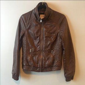 Garage medium dark brown faux leather jacket